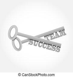 jogo, sucesso, teclas, ilustração, desenho, equipe