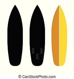 jogo, surfboard, ilustração