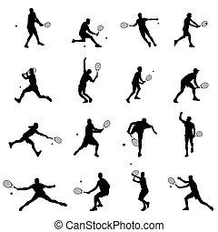 jogo, tênis, ilustração, jogador, silhuetas, vetorial, pretas, homens, dezesseis