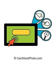 jogo, tablete digital, ícones