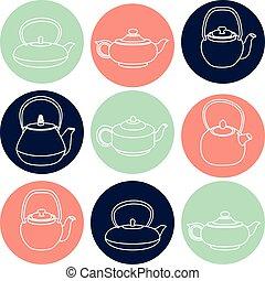 jogo, teapots, ícones, silhuetas, vetorial, branca