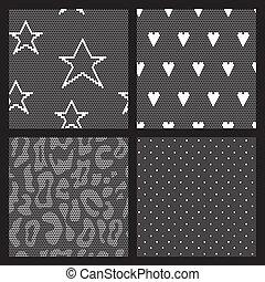 jogo, tecido, patterns., seamless, vetorial, renda