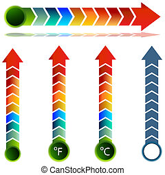 jogo, temperatura, seta, termômetro
