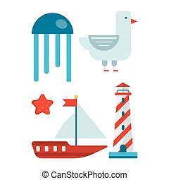 jogo, themed, isolado, minimalistic, ilustrações, marinho, caricatura