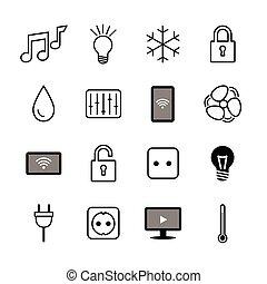 jogo, things., icons., house.smart, internet, lar, esperto