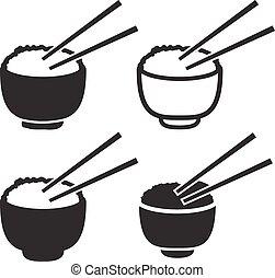 jogo, tigela, chopsticks, par, arroz, ícone