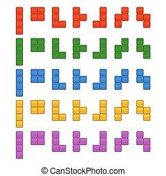 jogo, tijolos, game., pedaços, vetorial, tetris, total