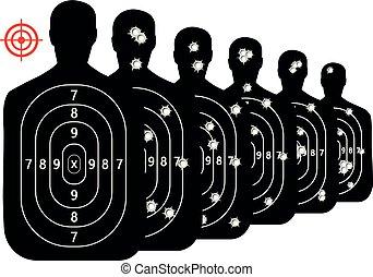 jogo, tiro, alvo, buracos bala, gama, vetorial, fundo, tiroteio