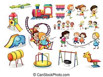 jogo, tocando, pátio recreio, crianças