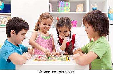 jogo, tocando, tábua, crianças