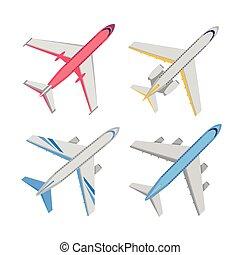jogo, topo, aeronave, vetorial, ilustrações, vista