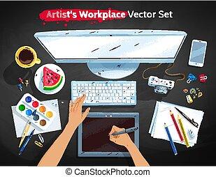 jogo, topo, local trabalho, artistas, ilustrações, vista
