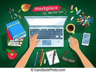 jogo, topo, local trabalho, estudante, ilustrações, vista