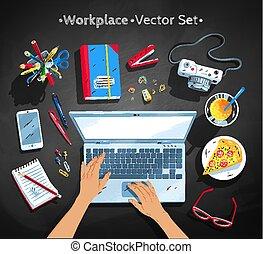 jogo, topo, vetorial, local trabalho, ilustrações, vista