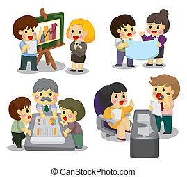 jogo, trabalhador, caricatura, escritório, ícone