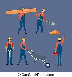 jogo, trabalhador construção