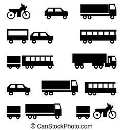 jogo, transporte, ícones, -, símbolos, vetorial