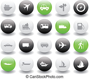 jogo, transporte, ícones