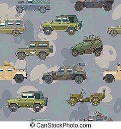 jogo, transporte, blindado, exército, car, veículo, seamless, ilustração, ou, máquina, experiência., vetorial, caminhão, camuflagem, padrão, militar, armado, guerra