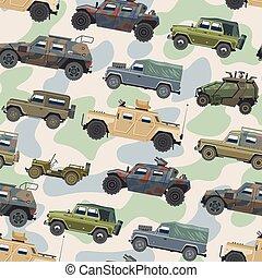 jogo, transporte, blindado, exército, car, veículo, seamless, ilustração, ou, máquina, vetorial, caminhão, padrão experiência, militar, armado, guerra