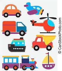 jogo, transporte, brinquedos