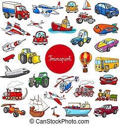 jogo, transporte, grande, caráteres, veículo, caricatura