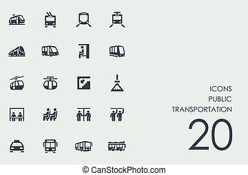 jogo, transporte, público, ícones