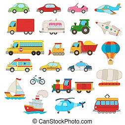 jogo, transporte, veículos, carros, outro, white., caricatura