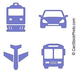 jogo, trem, car, avião, autocarro, transporte, ícone