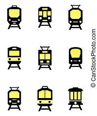 jogo trem, isolado, ícones