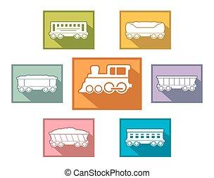 jogo trem, para, passageiro, ou, carga, indústria