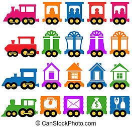 jogo, trem, -, serviços entrega, ícones