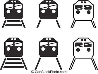 jogo trem, silueta, ícone