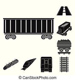 jogo, trem, web., ilustração, vetorial, icon., maneira, ferrovia, símbolo, estoque