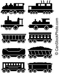 jogo, trens, com, frete, e, carro passageiro, para, trilho, maneira