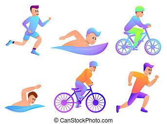 jogo, triathlon, ícones, estilo, caricatura