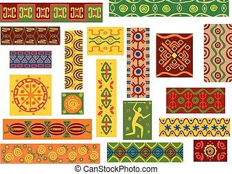 jogo, tribal, africano, padrões, ornamentos, étnico