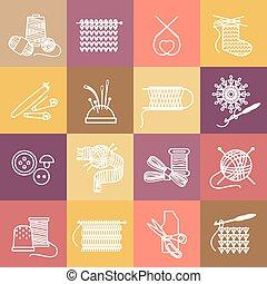 jogo, tricotando, ícones
