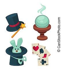 jogo, truques mágica, equipamento, maravilhoso, desempenho,...