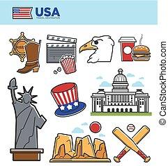 jogo, turista, eua, ícones, cultura, viagem, símbolos,...