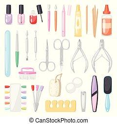 jogo, unhas, manicuring, nail-file, pedicure, manicured, mãos, nail-bar, isolado, ilustração, acessório, manicurist, vetorial, manicure, fundo, polaco, tesouras, branca, ferramentas, ou