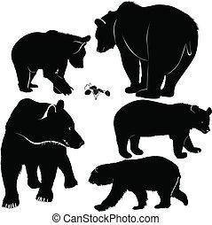 jogo, ursos, silhuetas
