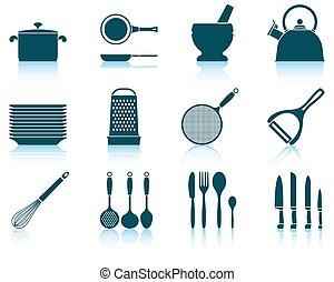 jogo, utensílio cozinha, ícone