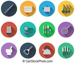 jogo, utensílio cozinha, ícones