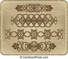 jogo, uva, leaves., ornamentos