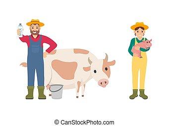 jogo, vaca, ilustração, porca, vetorial, agricultor