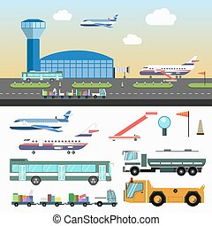 jogo, veículos, aeroporto, estrutura, branca, especiais