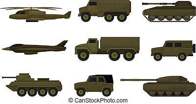 jogo, vehicles., experiência., vetorial, ilustração, militar, branca