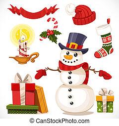 jogo, vela, ícones, isolado, presentes, boneco neve, fundo, christmas branco