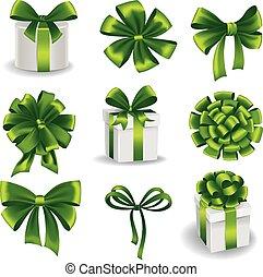 jogo, verde, arcos, presente, ribbons.